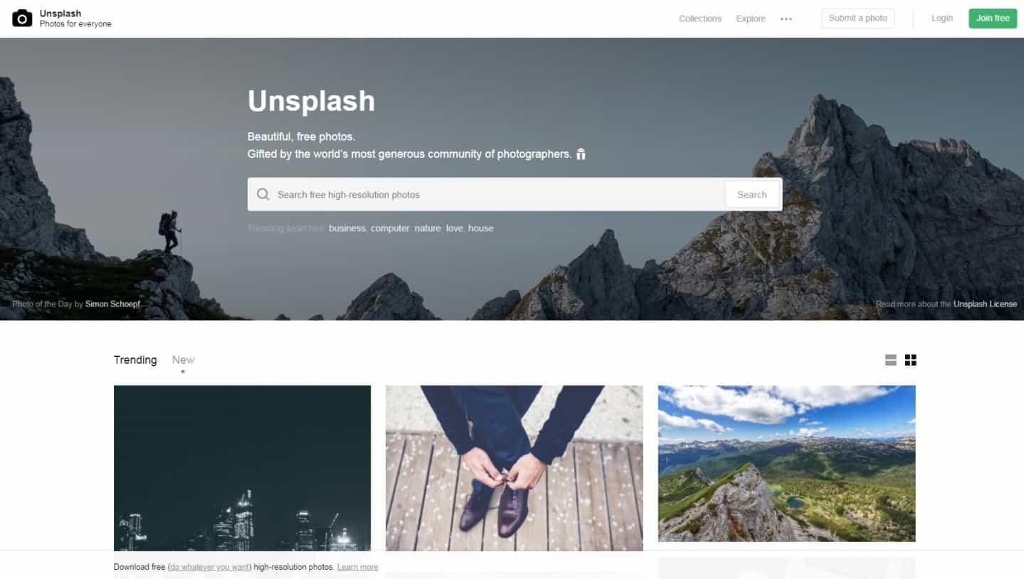 Website Tempat Download Gambar Gratis Untuk Blog Unsplash