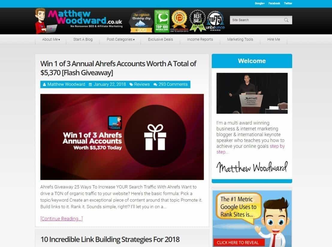Blog Matthew Woodward Affiliate Marketing