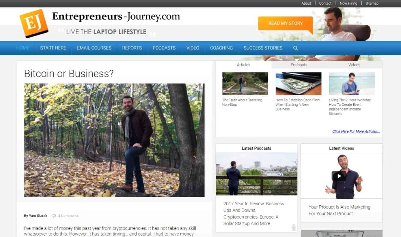 Blog Yaro Starak Entrepreneurs Journey Affiliate Marketing