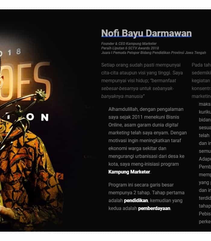 Tentang Kampung Marketer dan Novi Bayu Darmawan